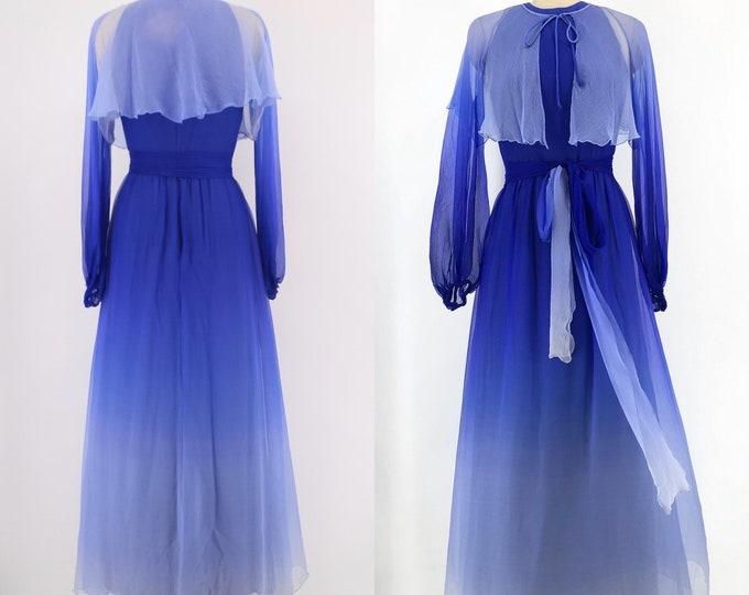 70s RICHILENE cobalt blue Ombre silk chiffon gown 6
