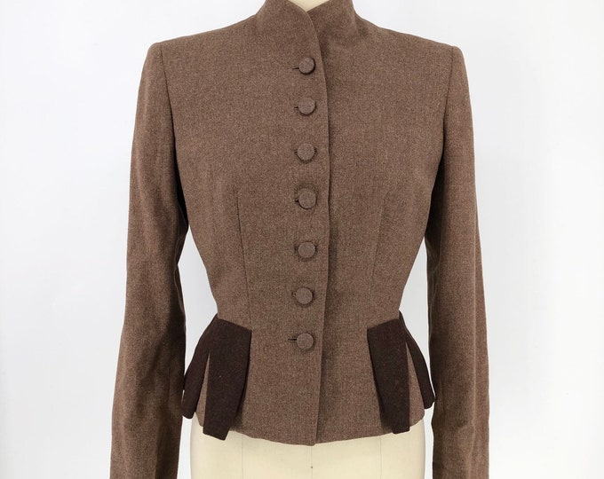 "40s IRENE Lentz cocoa wool WWII era tailored blazer vintage 1940s jacket bust 38 """