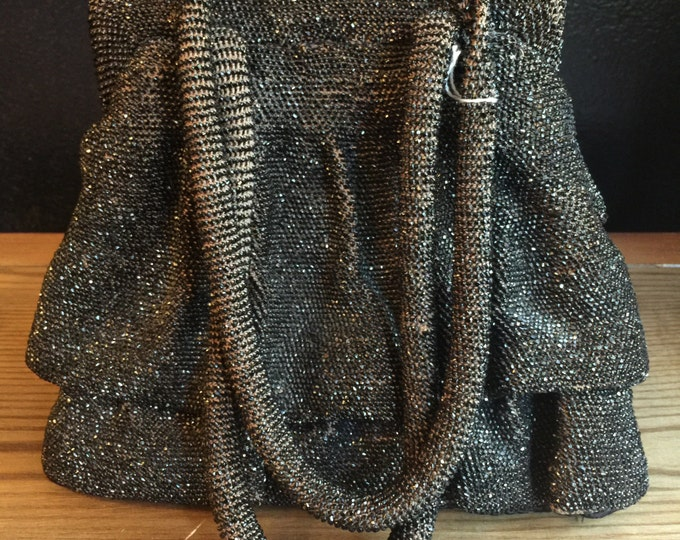40s SEED BEAD purse / structured monogrammed interior wartime WWII box purse evening bag vintage 1940s