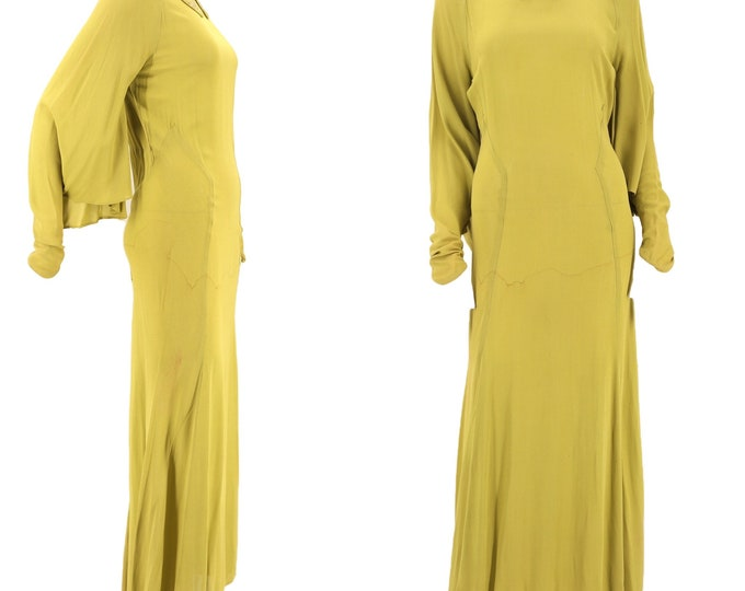 1930s acid green bias cut gown size S / vintage 1930s Art Deco chartreuse angel sleeve evening maxi dress w/ rhinestone collar