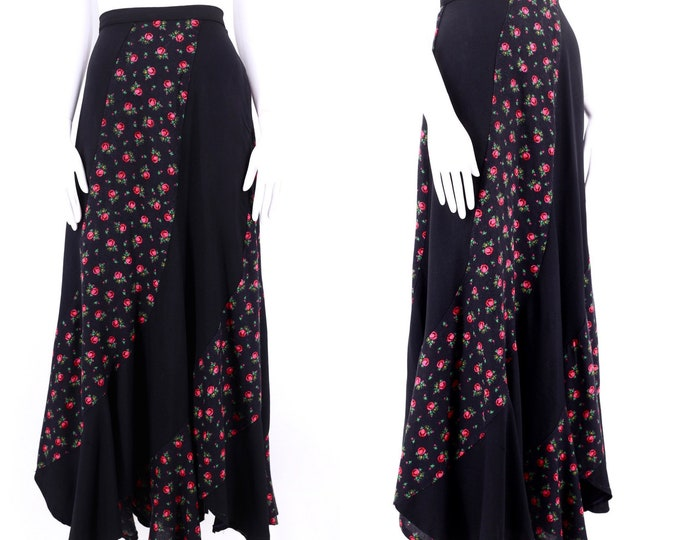 "70s black rayon print pieced maxi skirt / vintage 1970s swirl pattern mixed media skirt Woodstock era 28"" M"