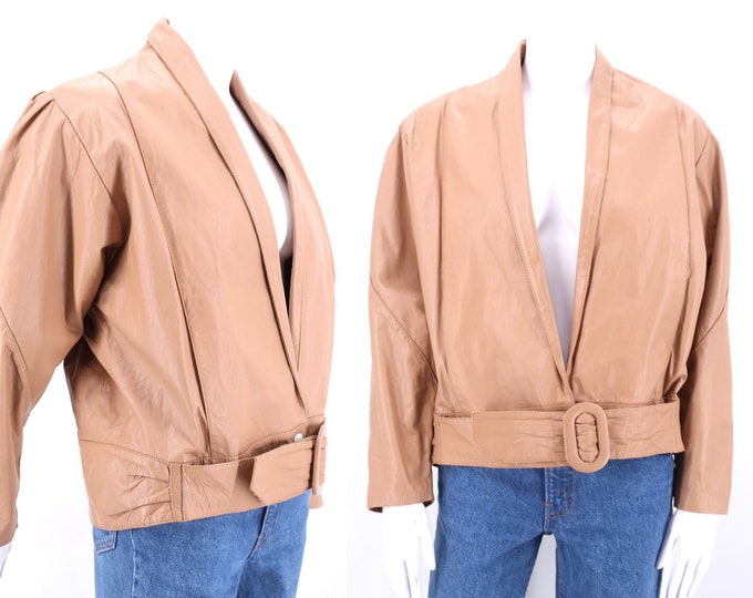 80s nude leather jacket sz M  / 1980s neutral pink leather slouchy belted jacket coat 36 6