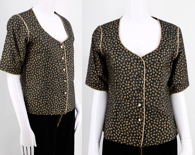70s YSL black & gold silk print jacket / vintage 1970s Yves Saint Laurent short sleeve top blouse sz 42