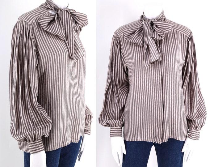 80s LOUIS FERUAD silk tie blouse sz 8 / vintage 1980s striped bishop sleeve bow neck secretary top 1970s