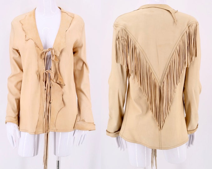 70s buckskin leather fringe jacket M  / 70s custom leather Western tailored festival jacket