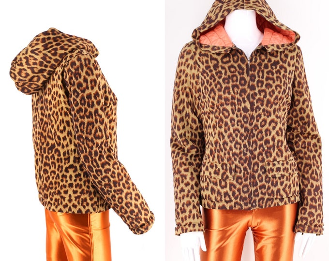 90s BETSEY JOHNSON leopard print hooded jacket / vintage 1990s quilted punk parka sz 4