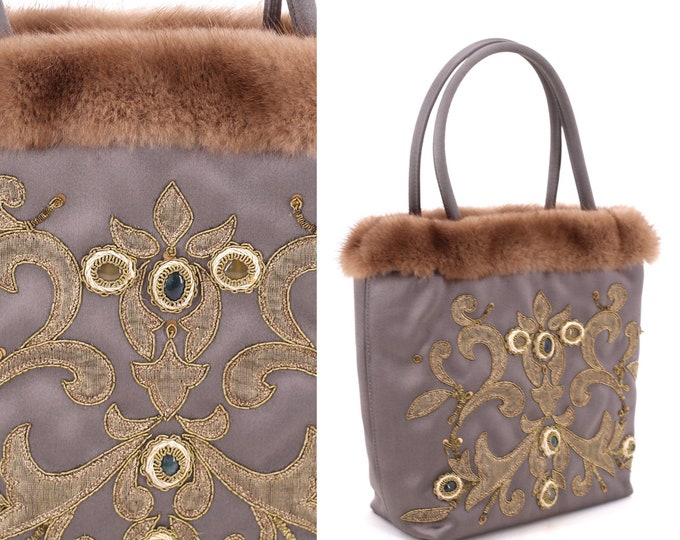 90s ESCADA silk mink trim bag  / vintage 1990s gray jeweled top handle purse evening tote