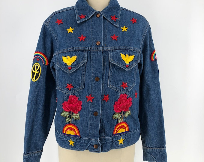 70s custom denim jacket with a ton of crazy patches !