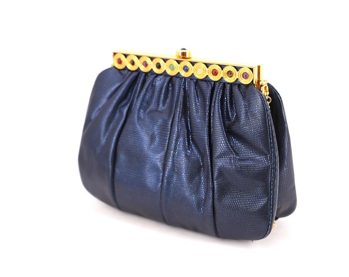 lizard JUDITH LEIBER metallic blue jeweled clutch / vintage 1980s Karung lizard skin leather gold frame purse shoulder bag  1986