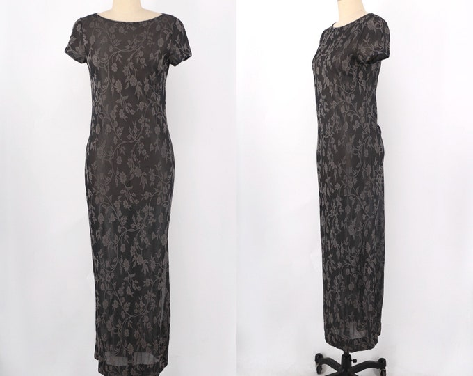 90s Etro brocade silk knit slinky T shirt dress vintage size 6
