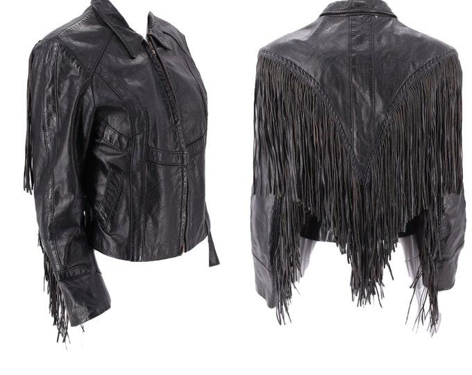 70s MARQUIS black leather fringe biker jacket S  / vintage fine fringe shrunken leather moto rock & roll jacket London small