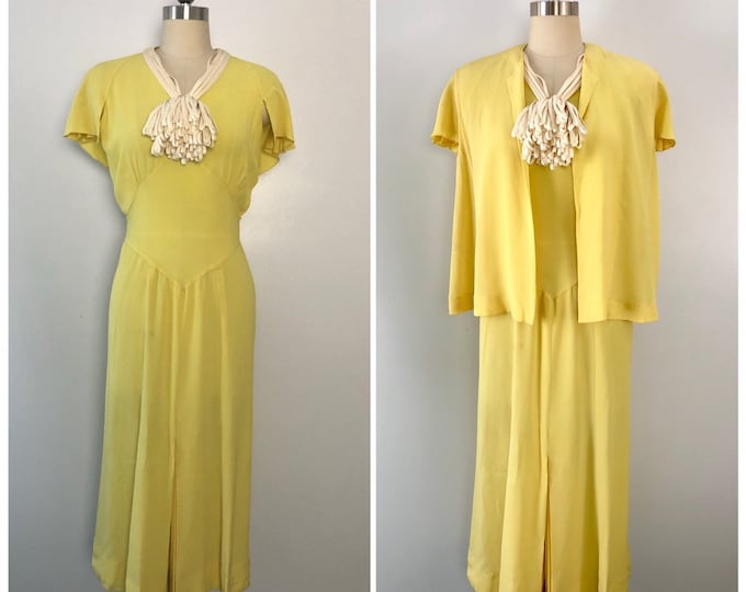 30s yellow day dress and blouse rayon crepe with flower corsage vintage 1930s wedding garden party jacket top