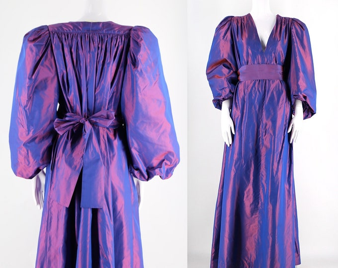 70s YSL Yves Saint Laurent iconic silk taffeta gown / vintage late 1970s iridescent purple sash dress major sleeves 34