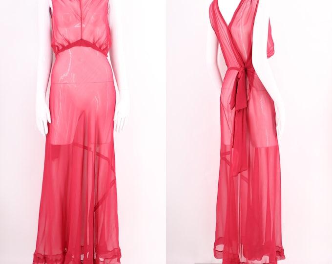 30s raspberry silk chiffon bias cut gown / vintage 1930s sheer silk bow back dress with Deco details sz S