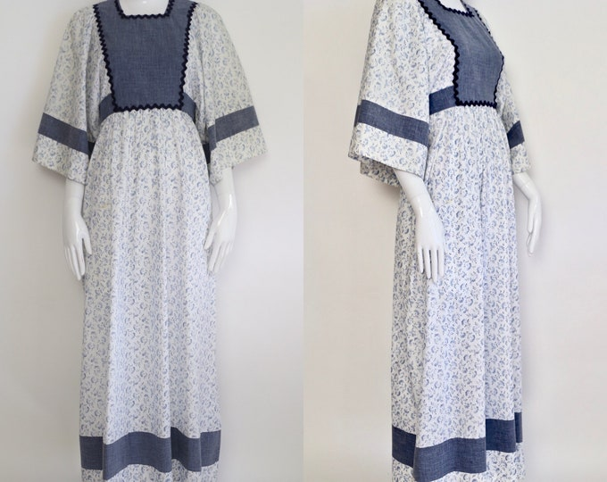 70s YOUNG EDWARDIAN cotton calico maxi dress / vintage 1970s Arpeja chambray summer gown sz 11