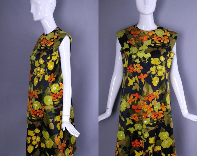 60s ARNOLD SCAASI autumn floral FLOCKED silk velvet a line sheath dress mod vintage 1960s