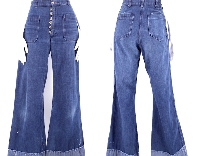 70s high waisted custom denim bell bottoms jeans 29 / vintage 1970s Navy ribcage flares pants sz 8