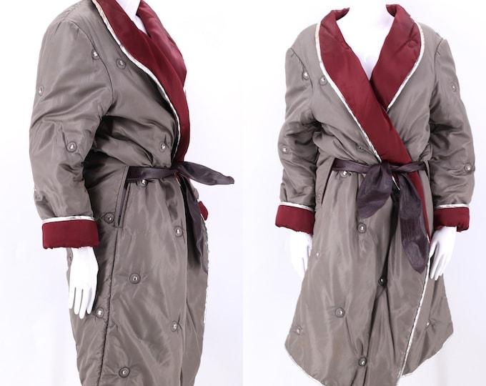 80s KRIZIA sleeping bag coat L / vintage 1980s jeweled taffeta silver trim duffle puffy coat 44 10 As is