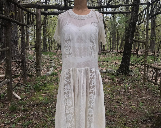 20s ROMANTIC WHITE cotton swiss dot and lace drop waist flapper tea DRESS vintage 1920s