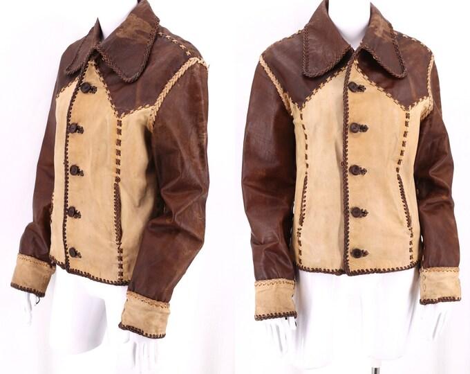 70s GERONIMO custom brown leather jacket M / vintage 1970s unisex stitched tan leather coat 8