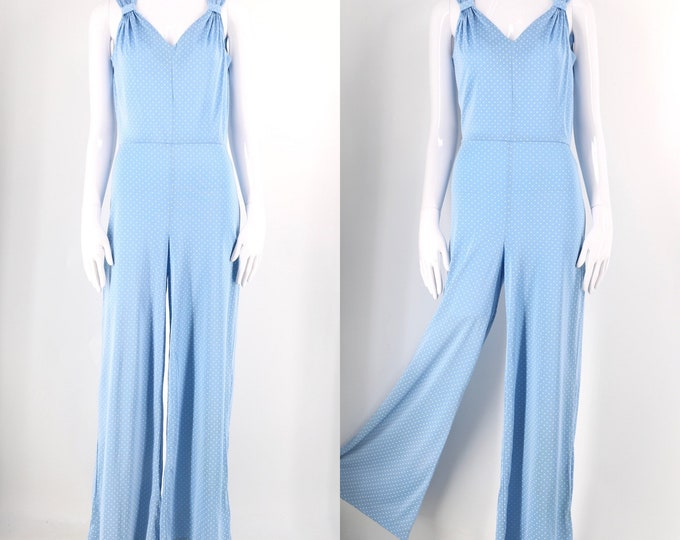 70s does 30s bell bottom slinky nylon jumpsuit / vintage 1970s baby blue polka dot flares bell bottoms 8-10