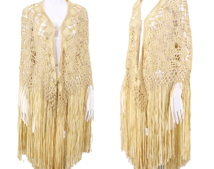 20s knotted silk ribbon fringe shawl / vintage 1920s antique ivory crochet Art Deco flapper wrap cape