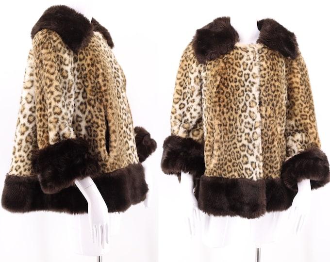 60s vintage leopard print faux fur swing coat M  / vintage TISSAVEL cheetah plush fur flared A line swing coat 1960s 50s M-L
