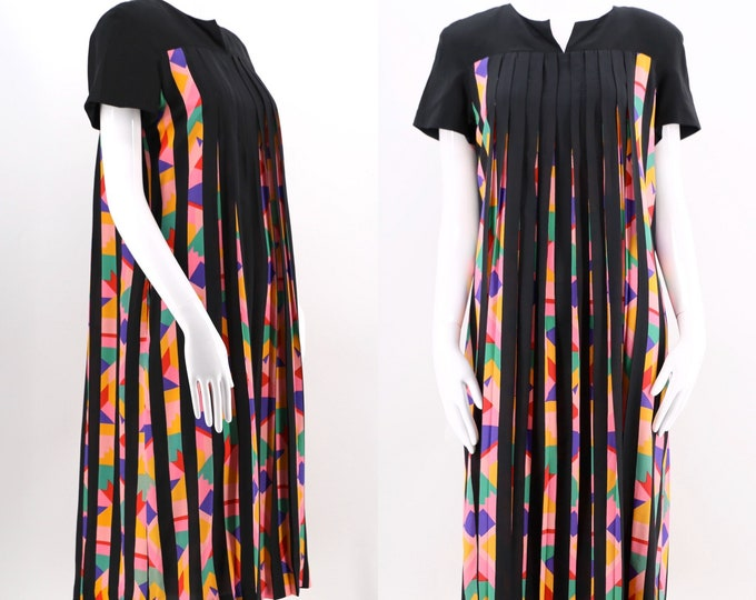 80s ALBERT NIPON silk geometric print pleated shift dress size 8 / 1980s vintage peek a boo pleat optic baby doll
