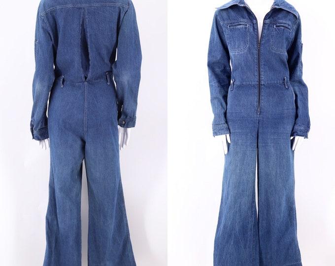 70s denim bell bottom JUMPSUIT L / vintage 1970s Mushroom  jeans jumpsuit flared bottoms coveralls