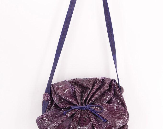 80s CARLOS FALCHI purple python Buffalo bag / vintage 1980s snakeskin butterfly shoulder bag purse