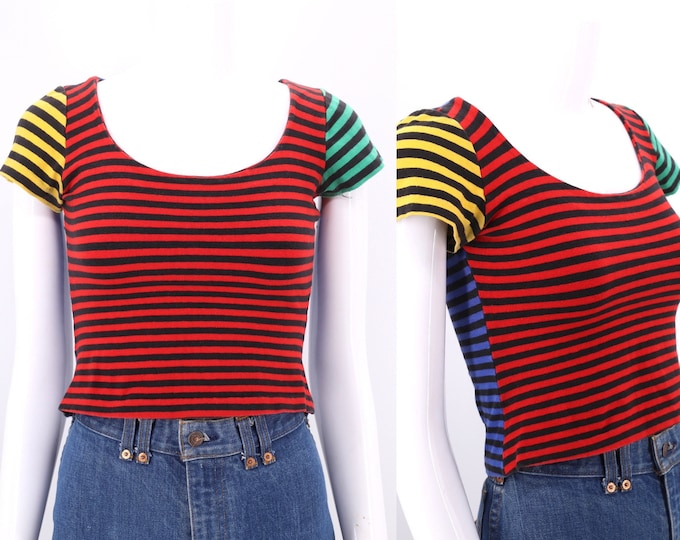80s BETSEY JOHNSON punk label striped top M / vintage 1980s multicolor stripe tight crop top tee