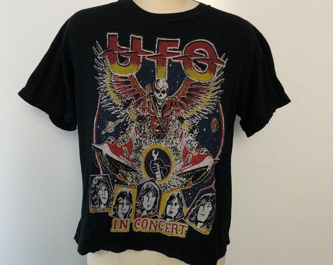 70s UFO band concert parking lot TOUR T SHIRT back print vintage 1970s