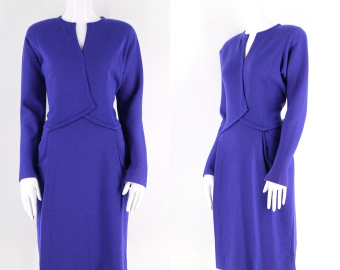 80s Geoffrey Beene purple knit dress / vintage tailored minimalist sheath dress 1980s size 6