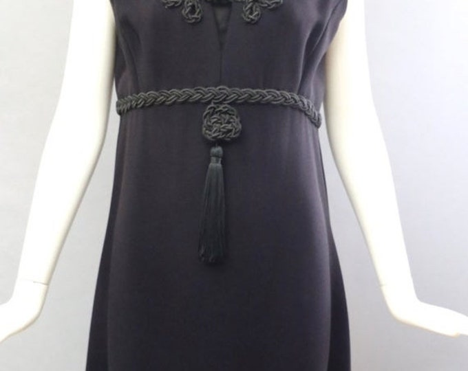 25% OFF 60s VICTOR COSTA Romantica Mod little black crepe cocktail Dress with tassel glam vintage vlv 1960s mod
