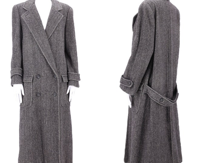 80s Perry Ellis oversize gray wool overcoat 6 / vintage 1980s tailored herringbone womens winter coat M
