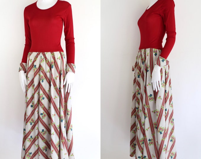 70s Vera Maxwell Speed Suit print maxi dress size L / vintage 1970s red stretch top rayon floral sweeping skirt gown 70s does 40s