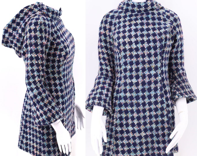 60s COUNT DOWN NYC wool mod hooded coat xs / vintage 1960s large houndstooth check tailored coat jacket