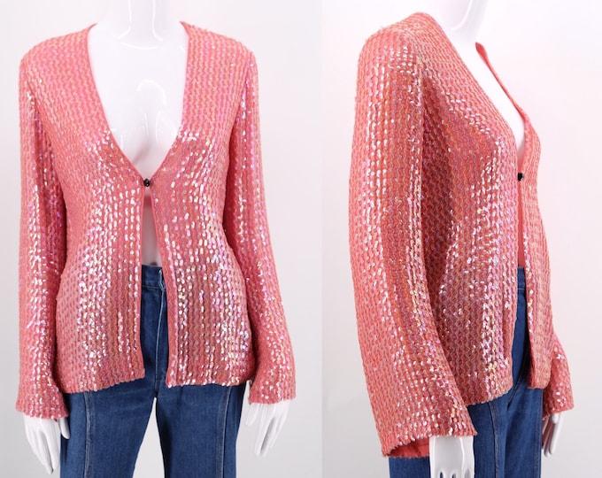 70s pink COURREGES sparkly sequin jacket / 1970s vintage designer Studio 54 era top blouse sz M