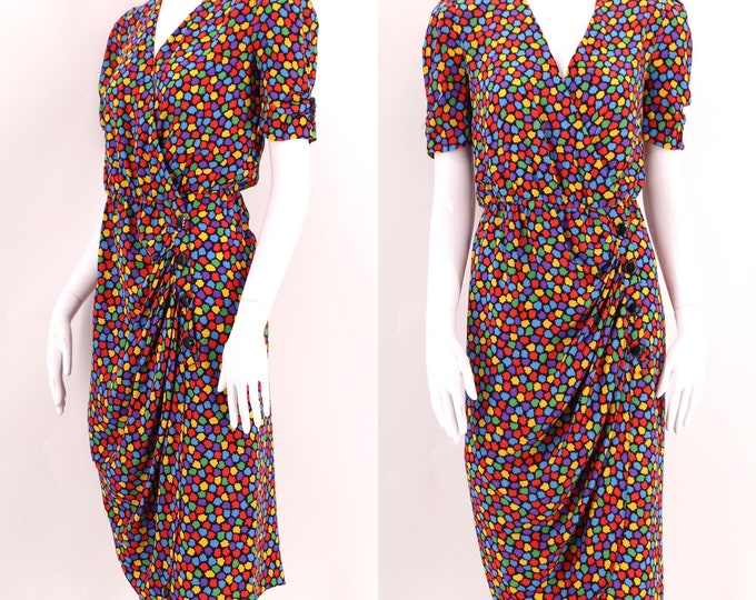 80s OSCAR DE La RENTA silk print dress / vintage 1980s Miss O multicolor sheath sz 8