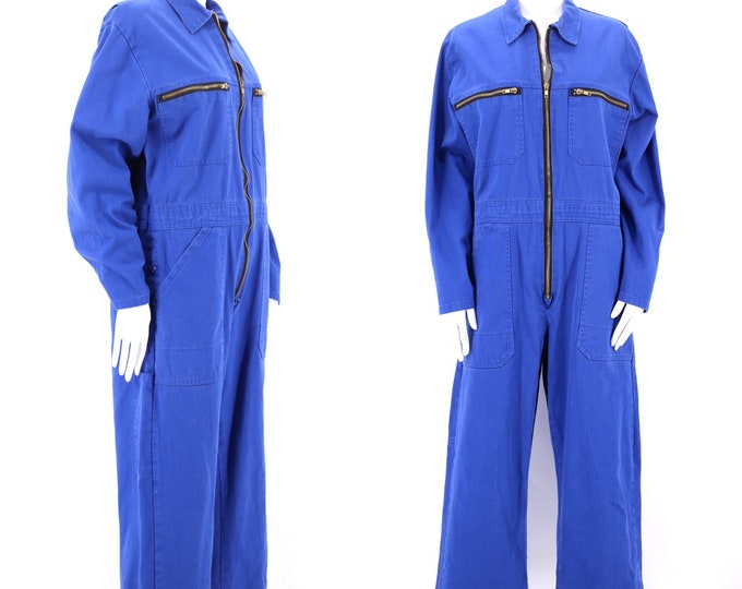 vintage cotton workwear coveralls jumpsuit XL / cobalt blue cotton canvas boiler suit all in one one piece large European