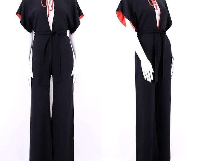 70s SPACE LEGS black crepe bell bottom jumpsuit / vintage 1970s glam, rock flowy bell bottoms one piece pants SZ M