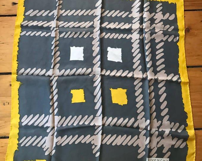 70s GIVENCHY gray yellow silk print designer vintage SCARF 1970s