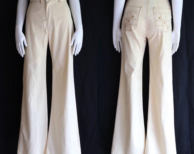70s high waisted stitched cotton bell bottoms pants sz 25 / vintage 1970s XO Maverick summer flares pants