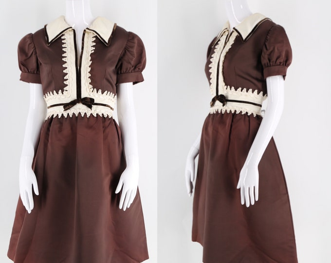 60s OSCAR De La RENTA baby doll dress / vintage chocolate brown silk puff sleeve dolly cocktail dress 1960s 10