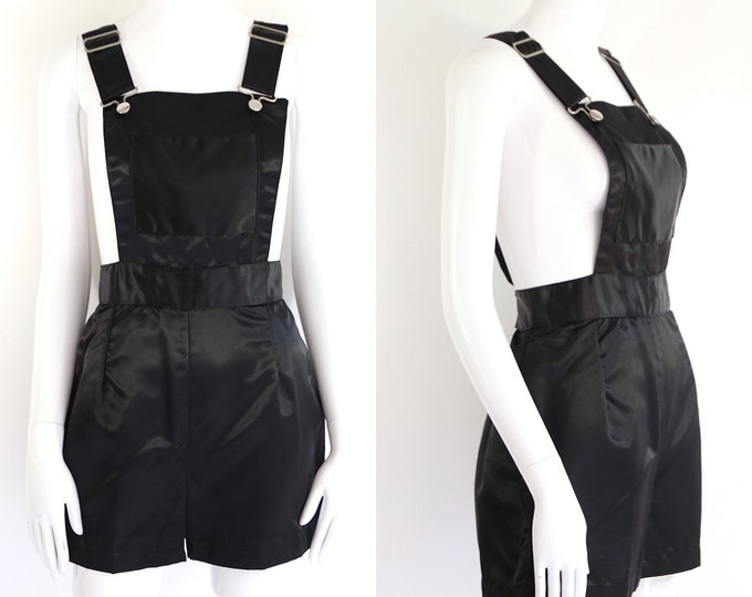 70s black satin romper / vintage 1970s glam rock overalls romper shorts early 70s Sz M-L
