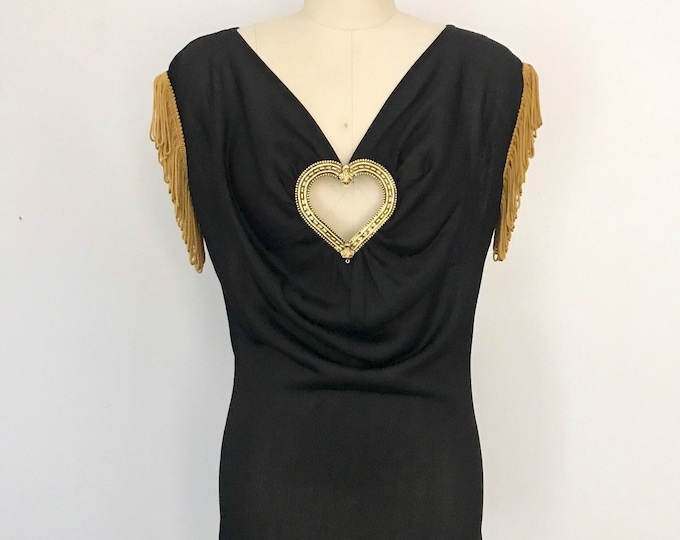 90s MOSCHINO black rayon knit metal HEART and fringe top blouse 42 8 vintage 1990s