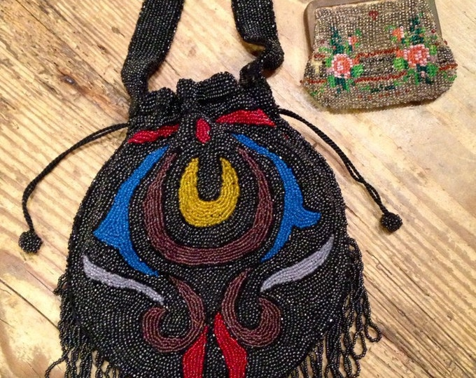 20s BEADED BAG antique Boardwalk Empire abstract mosaic drawstring fringe art deco flapper evening bag purse floral change purse