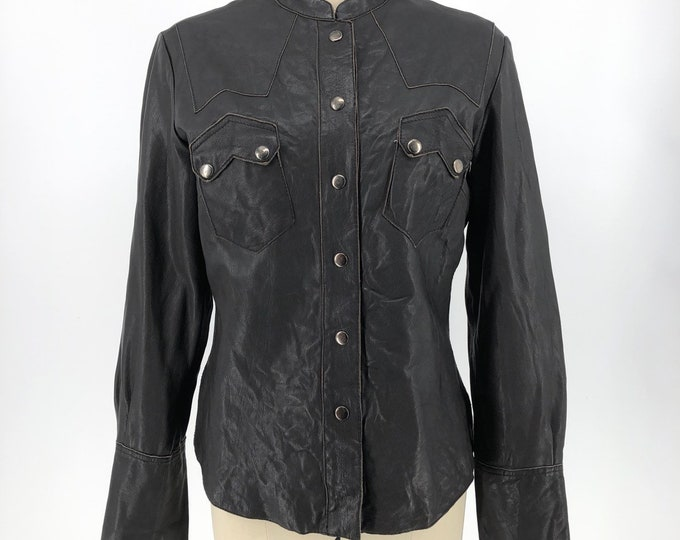 90s ALL SAINTS tailored leather snap front JACKET  L