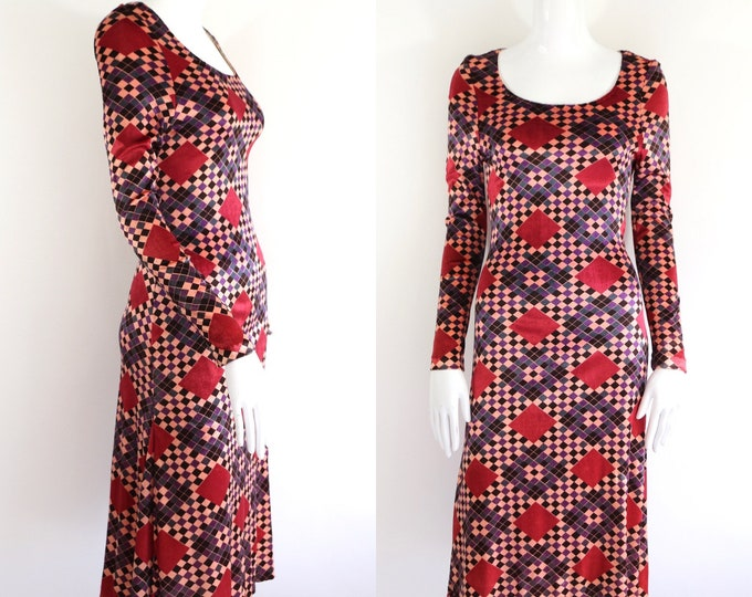 70s YOUNG EDWARDIAN velvet print dress  / vintage 1970s Arpeja sexy velveteen mod dress sz 13