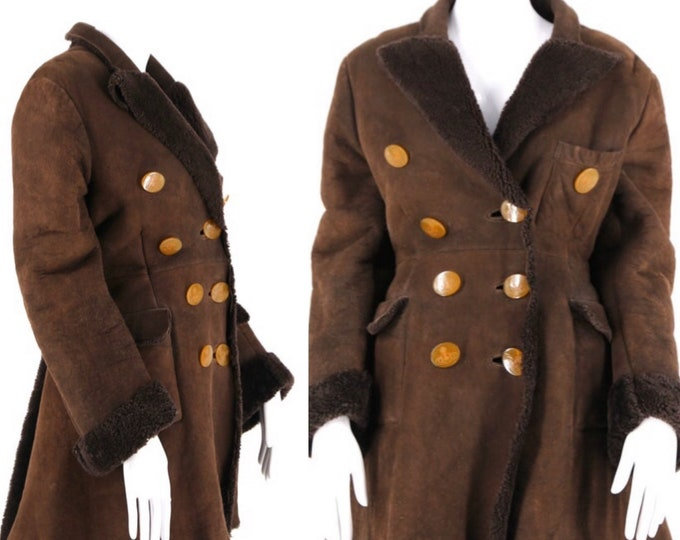 90s VIVIENNE WESTWOOD Victorian flared chocolate suede & SHEARLING logo button coat vintage 1990s